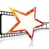 Vector realistic 3d film reel. With red star Stock Photo