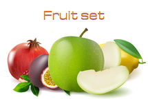 Vector realistic 3d fruit set. Passionfruit, pomegranate, lemon apple  Royalty Free Stock Photos