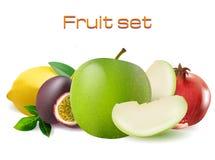 Vector realistic 3d fruit set. Passionfruit, pomegranate, lemon apple  Stock Images