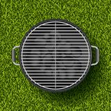 Vector realistic 3d illustration of barbecue grill on green grass lawn. Spring, summer bbq picnic in park. Stock Image