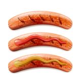 Vector realistic 3d illustration of grilled sausage with ketchup and mustard, isolated on white background. royalty free illustration