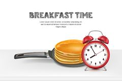 Vector realistic 3d illustration of pan with pancake, alarm clock on table. Design for breakfast menu, cafe, restaurant. Royalty Free Stock Photos