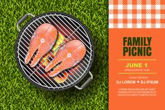 Vector realistic 3d illustration of red salmon steak on hot barbecue grill. Bbq picnic, banner or poster design template. Vector realistic 3d illustration of red Royalty Free Stock Photos