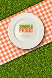 Vector realistic 3d illustration of plate, red plaid on green grass lawn. Picnic in park. Banner, poster design template. Vector realistic 3d illustration of vector illustration
