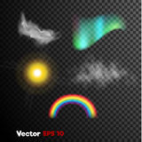 Vector realistic 3d nature phenomenon set. Fog, mist, rainbow lights. Vector realistic 3d clouds of steam, vapour misty fog, grey Haze,sun light flash, rainbow Royalty Free Stock Image