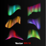Vector realistic 3d northern, polar light on black background. Vector realistic 3d colored bright shiny northern, polar light Weather state, nature phenomenon Royalty Free Stock Image