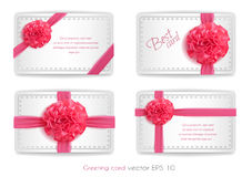 Vector realistic 3d pink silk ribbon with bow set isolated. Vector realistic pink silk ribbon with bow set. holiday present gift package. Sign of happy women`s Royalty Free Stock Photos