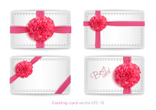Vector realistic 3d pink silk ribbon with bow set isolated. Vector realistic pink silk ribbon with bow set. holiday present gift package. Sign of happy women`s Stock Photo