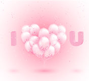Vector realistic 3D transparent heart shaped party balloons with confetti. Best for Valentines Day design. I Love you. Royalty Free Stock Photo