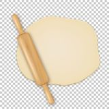 Vector realistic 3D wooden rolling pin on roll out the dough closeup isolated on transparency grid background. Design. Template for graphics Stock Photo