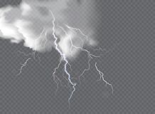 Free Vector Realistic Dark Stormy Sky With Clouds, Heavy Rain And Lightning Strikes Stock Photo - 219982300