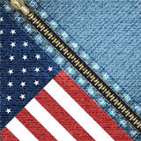 Vector realistic denim background with USA flag Royalty Free Stock Photography