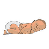 Vector realistic drawn baby  on white. Cute newborn in a diaper, sleeps on his stomach. Stock Image
