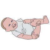 Vector realistic drawn baby  on white. Cute playful little baby dressed in white bodysuits, laughs Stock Images