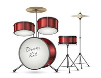 Vector realistic drum kit, percussion instruments. Drum kit realistic vector illustration isolated on background. Professional percussion musical instruments for Royalty Free Stock Image