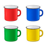 Vector realistic enamel metal red, blue, green and yellow mug set  on white background. EPS10 design template Stock Image