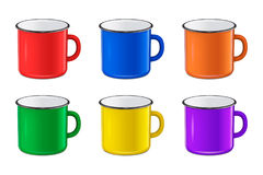Vector realistic enamel metal red, blue, green and yellow mug set  on white background. EPS10 design template. Vector illustration of realistic enamel metal red Stock Photo