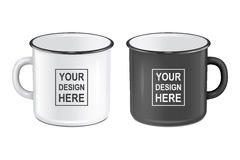 Vector realistic enamel metal white and black mugs isolated on white background. EPS10 design template for Mock up. Royalty Free Stock Photo