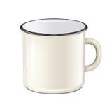 Vector realistic enamel metal white mug isolated on white background. EPS10 design template for Mock up. Stock Image