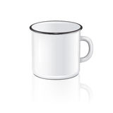 Vector realistic enamel metal white mug with reflection isolated on white background. EPS10 design template for Mock up. Royalty Free Stock Photos