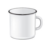 Vector realistic enamel metal white mug  on white background. EPS10 design template for Mock up. Stock Photos