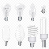 Vector realistic energy saving light bulbs lamps isolated on the background. Lightbulb set. Vector realistic energy saving light bulbs lamps isolated on the Stock Image