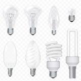 Vector Realistic Energy Saving Light Bulbs Lamps Isolated On The Background. Lightbulb Set. Stock Image