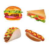 Vector Realistic fast Food Set. Burger,Hot Dog, Sandwich,Taco. Isolated On White background. Stock Photo
