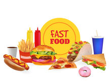 Vector Realistic fast Food Set Composition. Burger, Pazza,Taco, Beverage, Coffee, French Fries, Hot Dog, Sandwich, Donut, Ketchup, Royalty Free Stock Photography