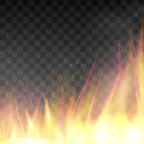 Vector realistic fiery design template. Fiery design template. Graphic element with flame, flaming bonfire. Realistic blazing campfire effect. Vector Royalty Free Stock Images