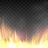 Vector realistic fiery design template. Fiery design template. Graphic element with flame, flaming bonfire. Realistic blazing campfire effect. Vector Royalty Free Stock Photo