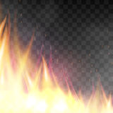 Vector realistic fiery design template. Fiery design template. Graphic element with flame, flaming bonfire. Realistic blazing campfire effect. Vector Royalty Free Stock Image