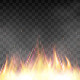 Vector realistic fiery design template. Fiery design template. Graphic element with flame, flaming bonfire. Realistic blazing campfire effect. Vector Stock Image