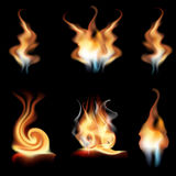 Vector realistic fire flames collection isolated on black background. Burning spruts of flame effect with sparkles vector illustration