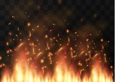 Vector realistic fire transparent special effect element. A hot flame is bursting. Campfire.Heat overlay. Vector fire. Vector flame. Fire elements, the effect Royalty Free Stock Images
