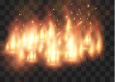 Vector realistic fire transparent special effect element. A hot flame is bursting. Campfire.Heat overlay. Vector fire. Vector flame. Fire elements, the effect Stock Image