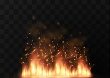 Vector realistic fire transparent special effect element. A hot flame is bursting. Campfire.Heat overlay. Vector fire. Vector flame. Fire elements, the effect Stock Photography