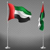 Vector realistic flags of United Arab Emirates. Vector 3d realistic flags of United Arab Emirates on steel poles isolated on transparent background. National vector illustration