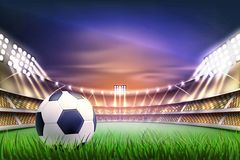 Vector realistic footbal soccer stadium background. Football soccer stadium tribune backgroud with ball at realistic green grass field playground, illuminated by Royalty Free Stock Photo