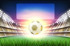 Vector realistic footbal soccer stadium background. Football soccer stadium tribune backgroud with ball at realistic green grass field playground, illuminated by Royalty Free Stock Photos