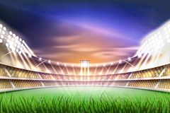 Vector realistic footbal soccer stadium background. Football soccer stadium tribune backgroud with realistic green grass field playground, illuminated by 3d Royalty Free Stock Photo