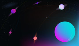 Vector realistic and futuristic space background with bright light planets and stars. Royalty Free Stock Photo