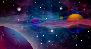 Vector realistic and futuristic space background. Open space. Alien planet background. Vector cosmic illustration. Stock Photography