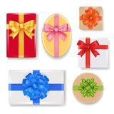 Vector realistic gift box set. Vector gift box set. Top view realistic illustration isolated on white background Stock Images