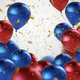 Vector realistic glossy balloons. Vector festive illustration of flying realistic glossy balloons. Red and blue balloons and golden confetti glitters. Decoration Stock Image