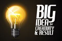 Vector realistic glowing light bulb. Banner with Stock Images