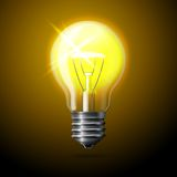 Vector realistic glowing light bulb on dark Royalty Free Stock Images