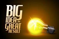 Vector realistic glowing light bulb. Idea stock illustration