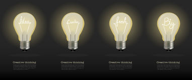 Vector realistic glowing light bulb.set of creative bulb Stock Images