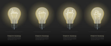 Vector realistic glowing light bulb.set of creative bulb.cretive Stock Photography